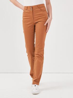 Pantalon droit taille haute marron clair femme