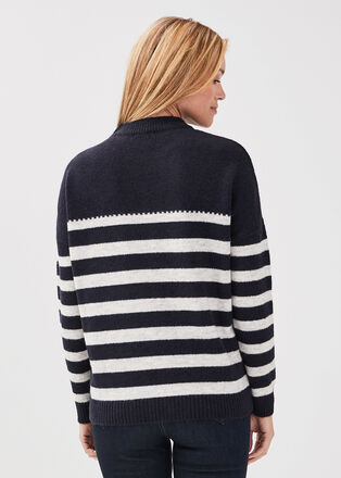 Pull manches longues a boutons bleu fonce femme