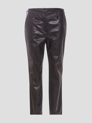 Pantalon chino taille haute noir femme
