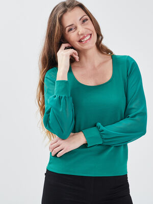 T shirt manches longues vert emeraude femme