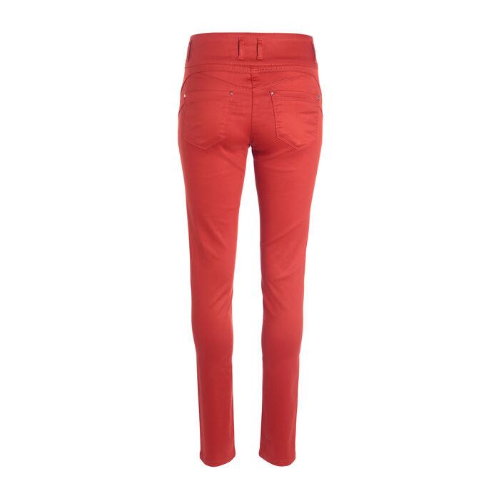 Pantalon enduit ajusté 3 boutons rouge femme
