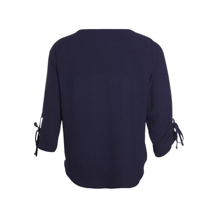 Blouse manches 3/4 drapé bleu foncé femme