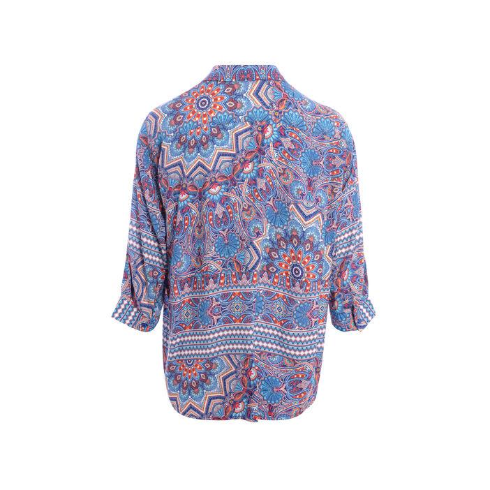Chemise manches 3/4 imprimée bleu turquoise femme