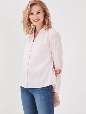 Chemise manches longues rose poudree femme