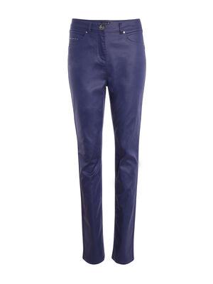 Pantalon ajuste taille basculee bleu fonce femme