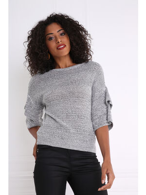 Pull col rond manches a volants gris clair femme