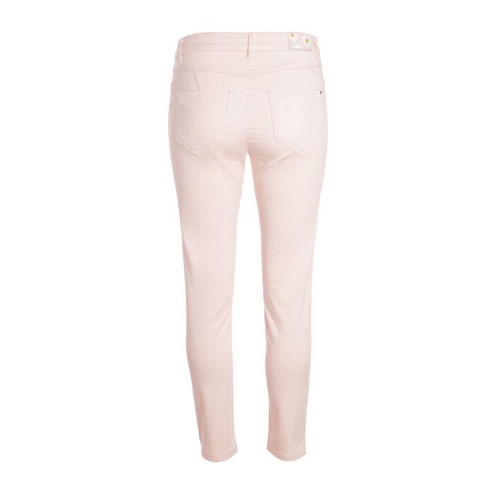 Pantalon taille basculée 7/8 rose clair femme