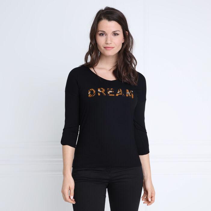 T-shirt manches 3/4 broderie noir femme