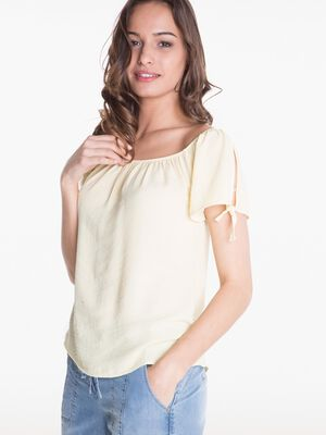 Chemise manches courtes nouee manches jaune clair femme