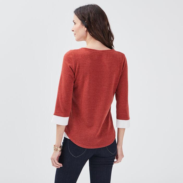 T-shirt manches 3/4 2-en-1 rouge foncé femme