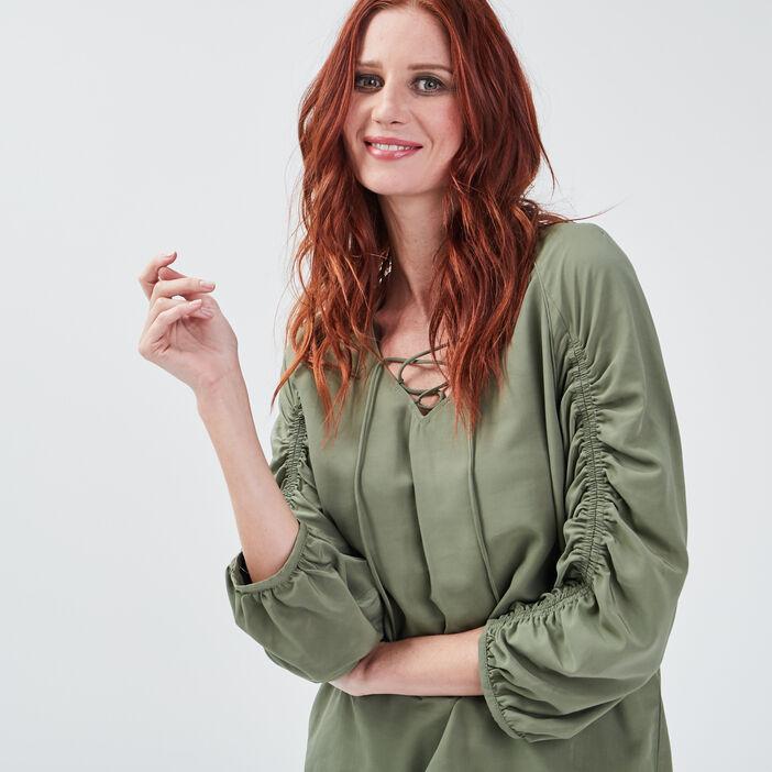 Blouse manches 3/4 vert kaki femme