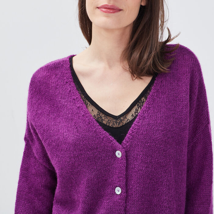 Gilet manches longues boutonné violet femme