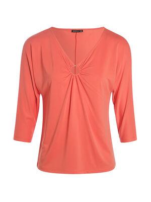 T shirt manches 34 anneau bas de col orange corail femme