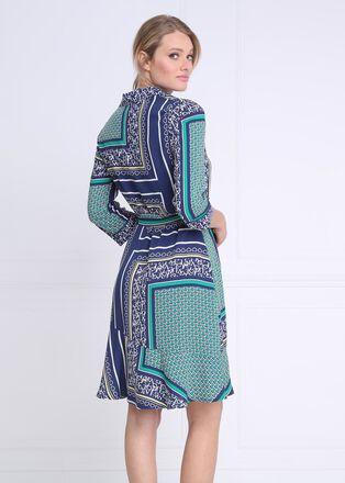 Robe courte evasee a ceinture bleu marine femme