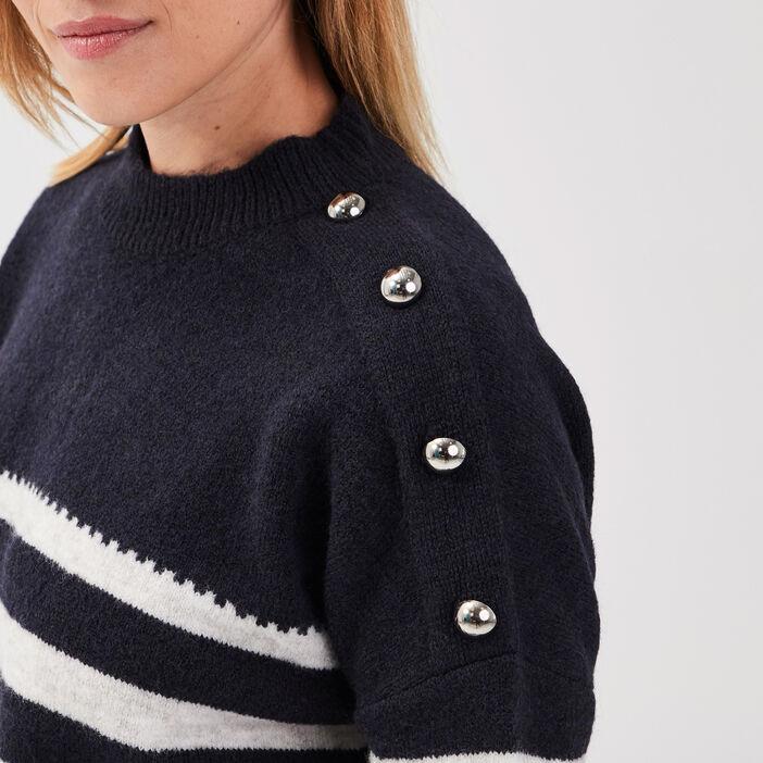 Pull manches longues à boutons bleu foncé femme