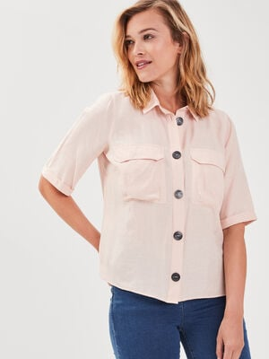 Chemise manches courtes rose poudree femme