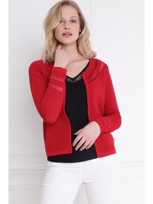 Gilet tricot uni maille fantaisie rouge femme