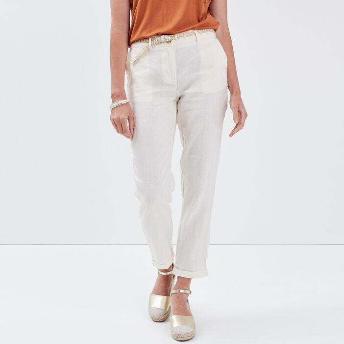 Pantalon chino taille basculée ecru femme