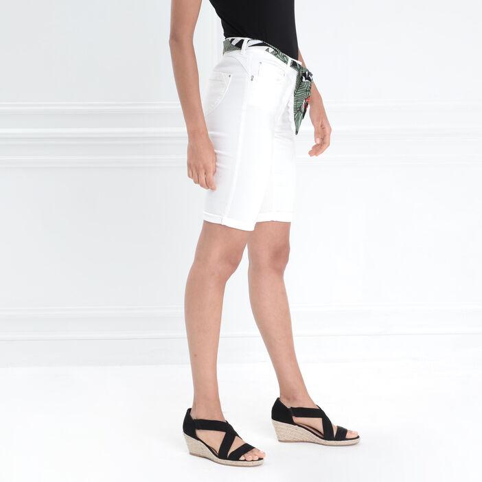 Bermuda taille haute ceinture ecru femme