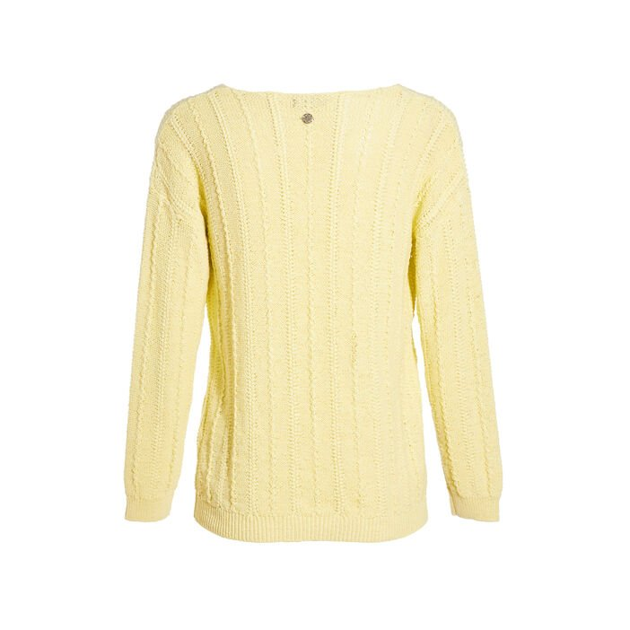 Pull manches longues jaune fluo femme