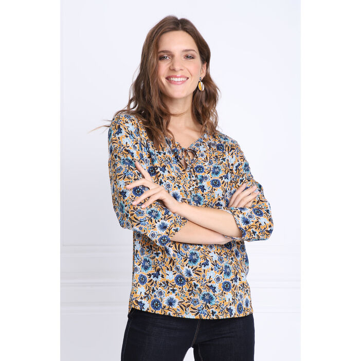 Blouse manches 3/4 col rond jaune moutarde femme
