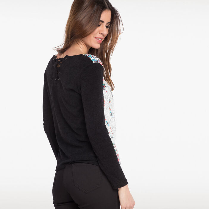 T-shirt avec détail dans le dos noir femme