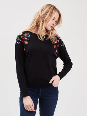 Pull manches longues brode noir femme