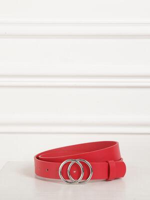 Ceinture lisse boucle anneaux rouge femme