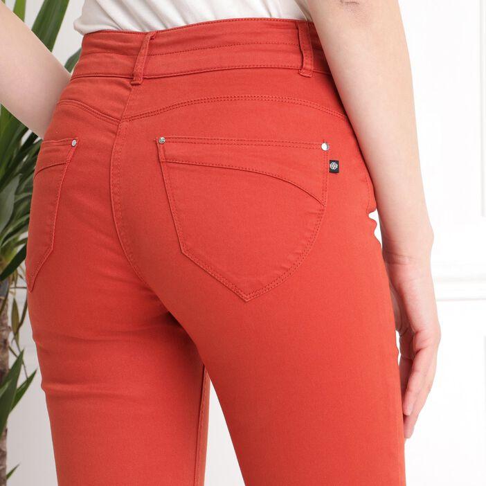 Pantalon 7/8 taille standard rouge femme