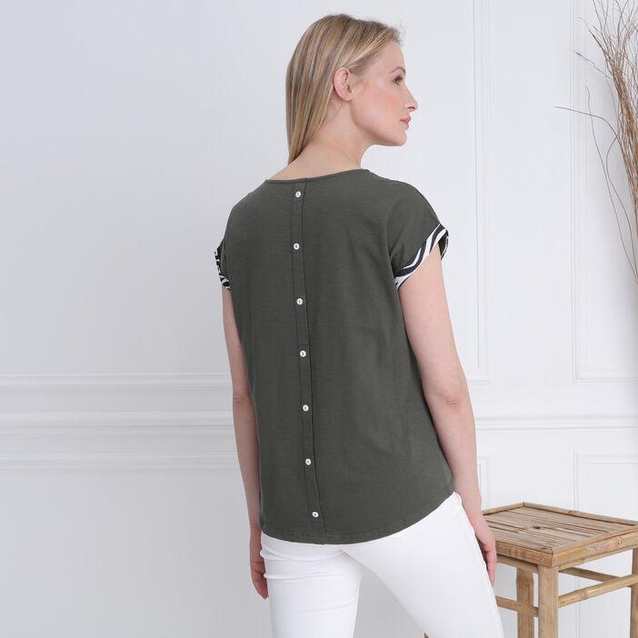 T-shirt manches courtes poche vert kaki femme