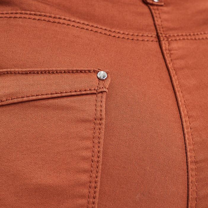 Pantalon 7/8 satin marron cognac femme