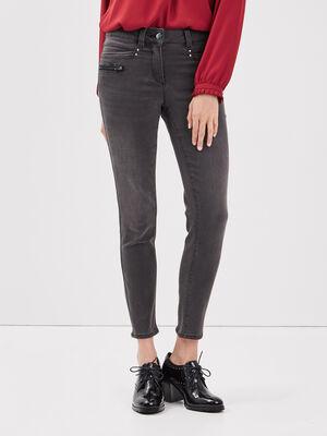 Pantalon ajuste details zippes gris fonce femme