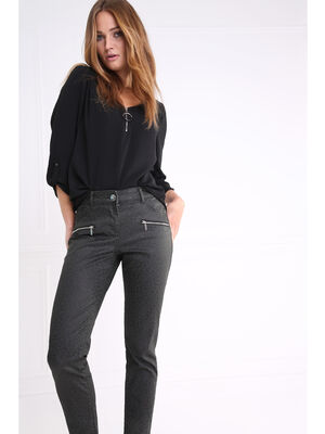 Pantalon taille haute coupe ajustee vert canard femme