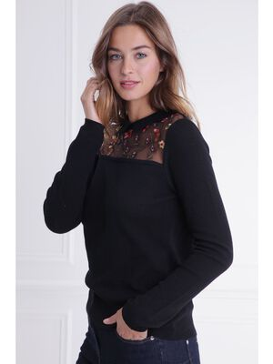 Pull col polo resille brodee noir femme
