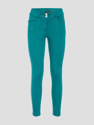 Pantalon ajuste taille basculee vert emeraude femme