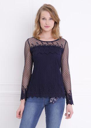 T shirt manches longue resille doublee bleu femme