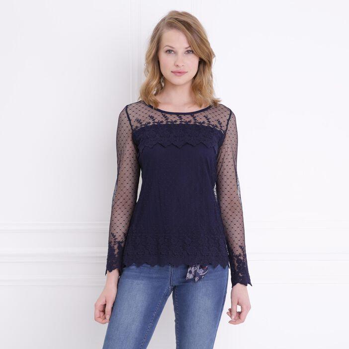 T-shirt manches longue résille doublée bleu femme