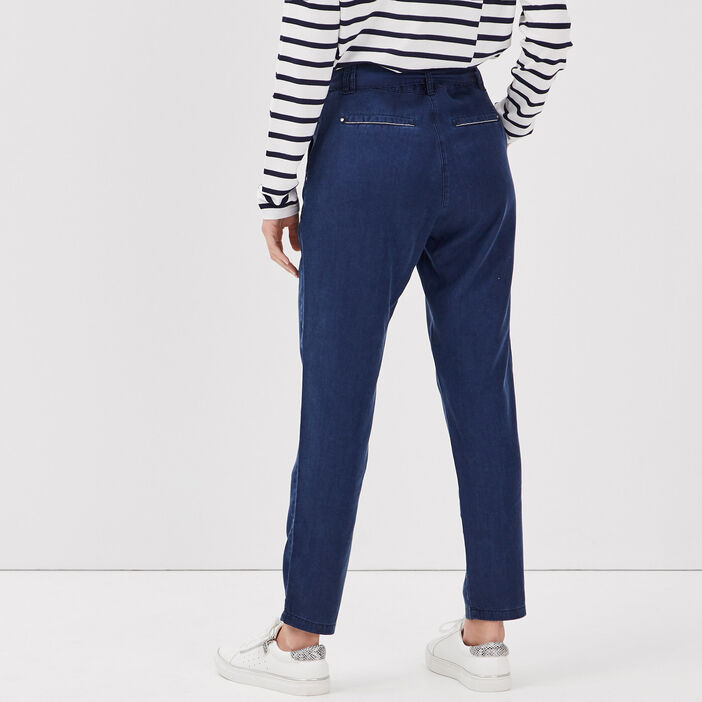 Pantalon flou taille haute denim brut femme