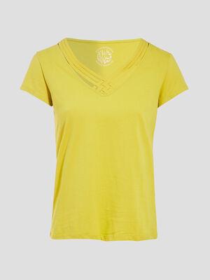 T shirt manches courtes vert anis femme