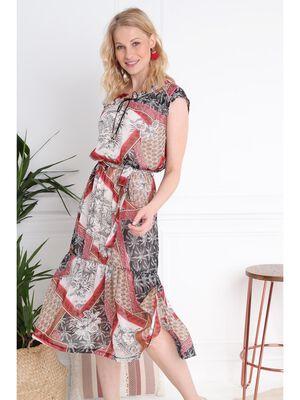 Robe longue imprime blanc femme
