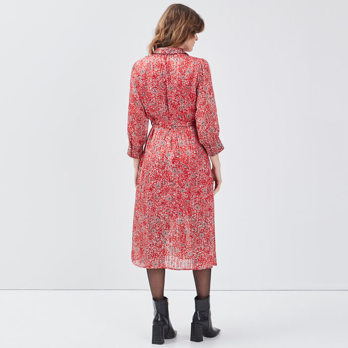 Robe longue évasée ceinturée rouge femme