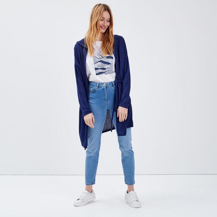 Gilet manches longues bleu marine femme
