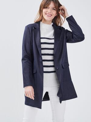 Manteau droit boutonne bleu fonce femme