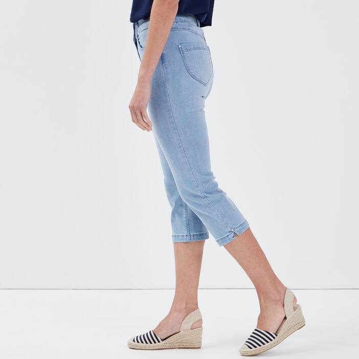 Pantacourt ajusté en jean denim double stone femme