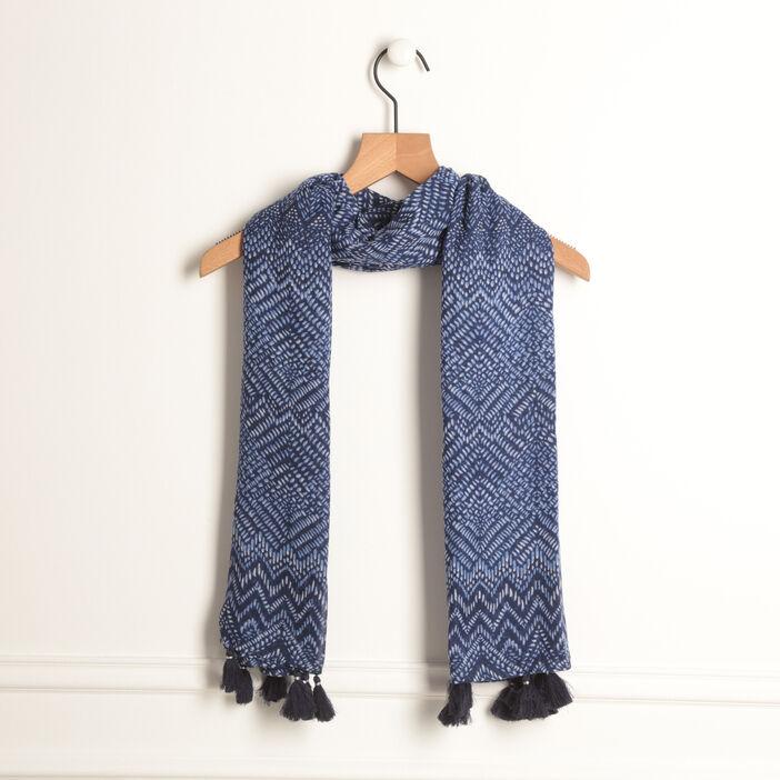 Foulard à glands bleu femme