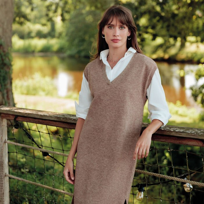 Robe pull droite taupe femme
