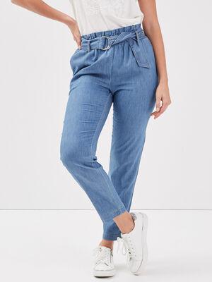 Jeans ample taille haute denim double stone femme