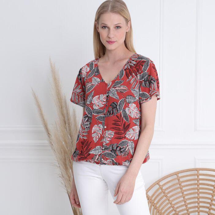 Chemise manches courtes col V terracotta femme