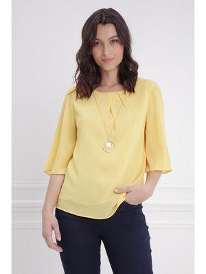 Blouse plissee avec collier jaune femme