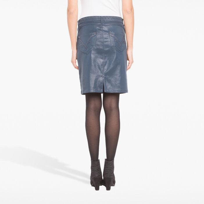 Jupe droite en toile enduite bleu foncé femme